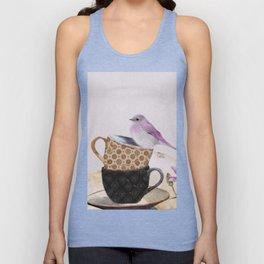 Bird in tea cup Unisex Tank Top