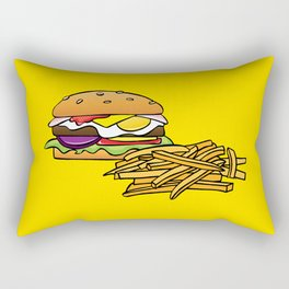 Aussie Burger with Chips (Fries) on Yellow Rectangular Pillow
