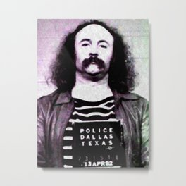 David Crosby Mug Shot Vertical Sepia Music Gift Idea Metal Print