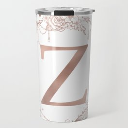Letter Z Rose Gold Pink Initial Monogram Travel Mug