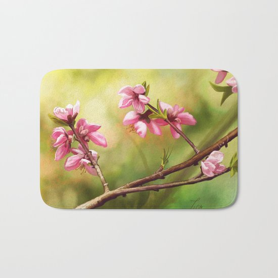 Spring and pink flowers on a branch Bath Mat