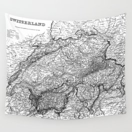 Vintage Map of Switzerland (1856) BW Wall Tapestry