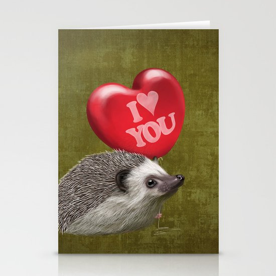Hedgehog in love with a red balloon Stationery Cards