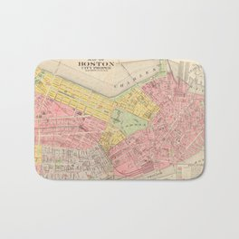 Vintage Map of Boston MA (1876) Bath Mat