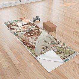 Jurassic Portal   Retro Rainbow Palette   Dinosaur Science Fiction Art Yoga Towel