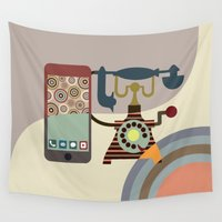 chic Wall Tapestries featuring Telecom Chic by Lanre Studio