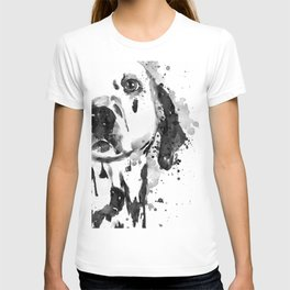 Black And White Half Faced Dalmatian Dog T-shirt