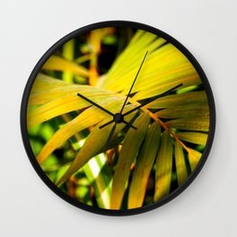 Green Palm Leaves. Play Of Light And Shadow Wall Clock