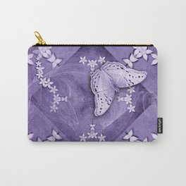 Flowers and butterfly with swirling fractal Carry-All Pouch