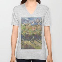 Les Tilleuls à Poissy by Claude Monet Unisex V-Neck