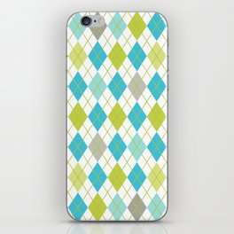 Retro 1980s Argyle Geometric Pattern in Modern Bright Colors Blue Green and Gray iPhone Skin