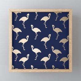 Gold Flamingo Pattern Navy Blue Framed Mini Art Print