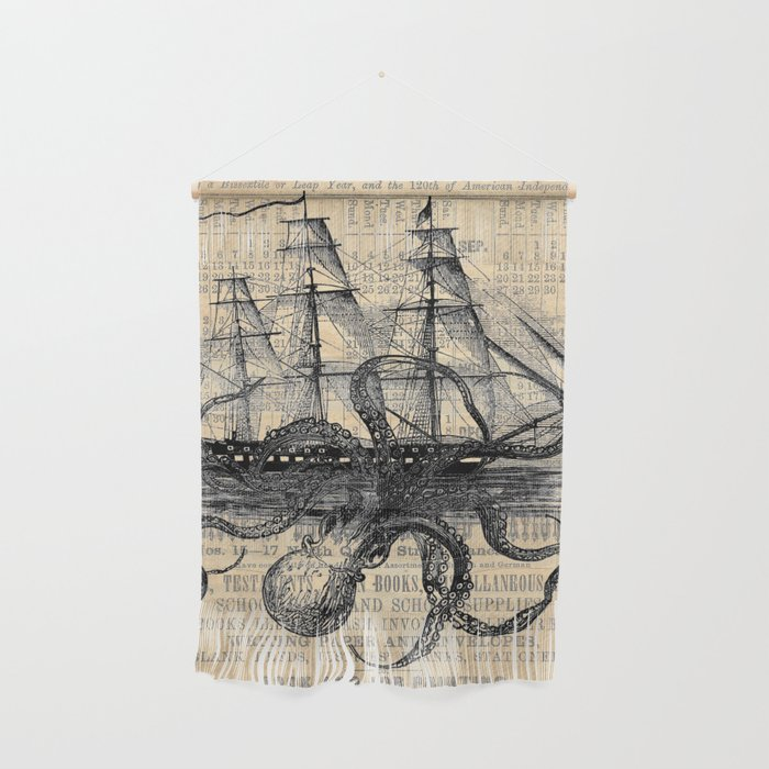 Octopus Kraken attacking Ship Antique Almanac Paper Wall Hanging