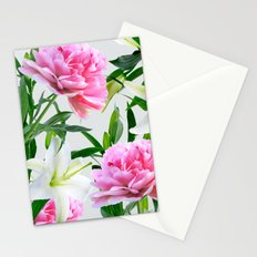 Pink Peonies & White Lilies Stationery Cards