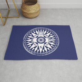 Nautical Compass | Vintage Compass | Navy Blue and White | Rug