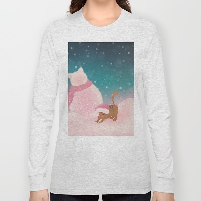 Snow Tabby Cat & Her Snowman, Indigo Snowy Background Long Sleeve T-shirt