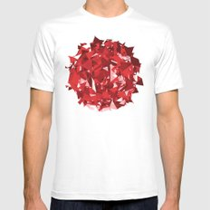 Abstract Red MEDIUM White Mens Fitted Tee