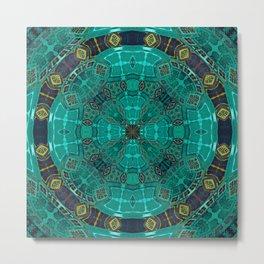 African Fabric Medallion Mandala in Deep Teal Metal Print