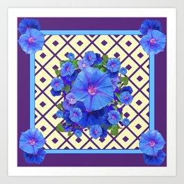 Cream Color Purple Pattern Blue Floral Art Print
