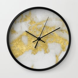 Marble - Yellow Gold Marble Foil on White Pattern Wall Clock