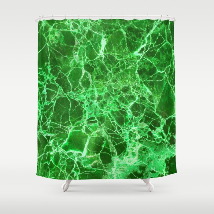Emerald Green Marble Shower Curtain by calacatta | Society6