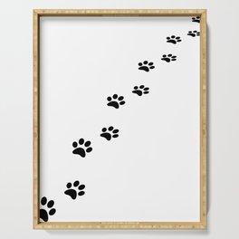 Black cat paw prints on white Serving Tray