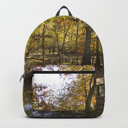 Autumn Forest with Water Puddles Backpack