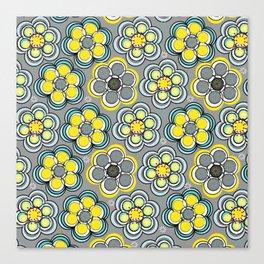 Yellow Circle Flowers Canvas Print