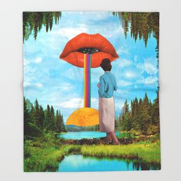 Lips & Rainbow Throw Blanket