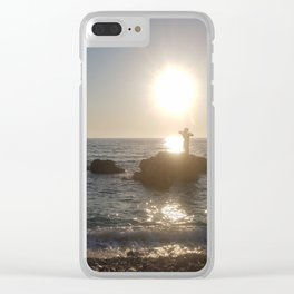Woman at Sunset on the Beach Clear iPhone Case