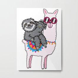 Sloth Music Llama Metal Print