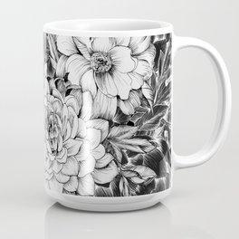 Dahlias & Peonies Black Coffee Mug