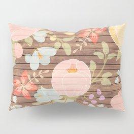 Rustic brown wood pastel pink botanical floral Pillow Sham