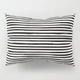 Skinny Stroke Horizontal Black on Off White Pillow Sham