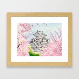 Himeji Castle , Art Watercolor Painting print by Suisai Genki , cherry blossom , Japanese Castle Framed Art Print