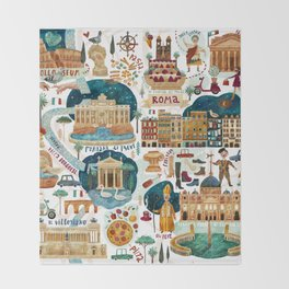 Rome map Throw Blanket