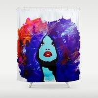 afro Shower Curtains featuring afro color by WITH MY HANDS