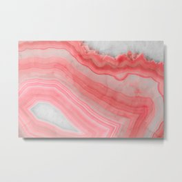 Coral Pink Agate Metal Print