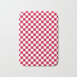 White and Crimson Red Checkerboard Bath Mat