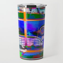 blue classic taxi car with painting abstract in green pink orange  blue Travel Mug