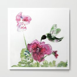 Chuparosa checking out all the Pink Pink Hollyhocks by CheyAnne Sexton Metal Print