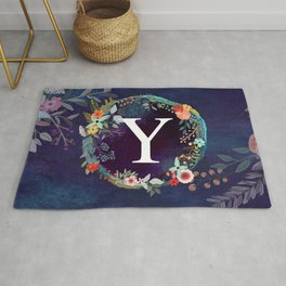 Personalized Monogram Initial Letter Y Floral Wreath Artwork Rug