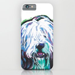 Fun Bearded Collie Dog Portrait bright colorful Pop Art Dog Painting by LEA iPhone Case