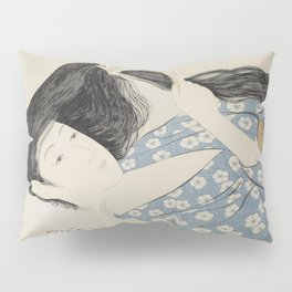 Hashiguchi Goyo: Woman Combing Her Hair Japanese Woodblock Print Blue Floral Kimono Black Hair Pillow Sham