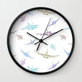 Pastel Airplanes Wall Clock