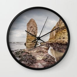 Stack and chalk cliffs Wall Clock