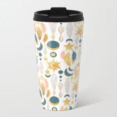 Bohemian spirit IV // white background salmon pink & gold feathers Metal Travel Mug