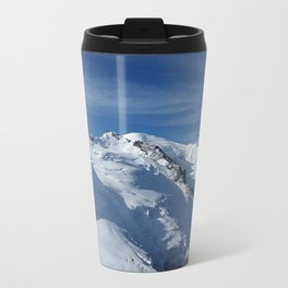 Awesome white snowy Mont Bla   nc Alps mountains in Italy, France, Europe on a beautiful winter day Metal Travel Mug