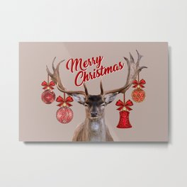 Reindeer Head Illustration - Merry Christmas beige Metal Print