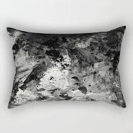 Impossibility - Textured, black and white abstract Rectangular Pillow